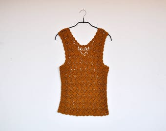 Vintage Mustard Mesh Vest Crocheted Waistcoat See Through Lacey Tank Top