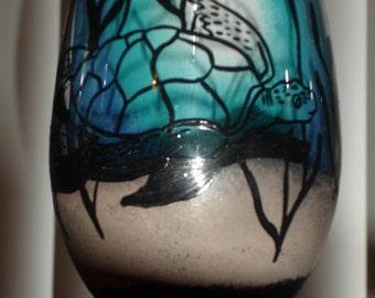 1 hand painted tropical sea turtle scenic beverage wine glass