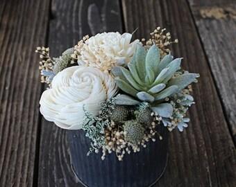 Small Floral Arrangement, Wedding Reception Centerpiece, Succulent, Sola Wood Flowers, Faux Flowers, Home Decor, Wedding Decor