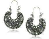 Pair of Handmade Antique Silver Filigree U Shape Flower Earrings, Bohemian Earrings, Earrings 37mm