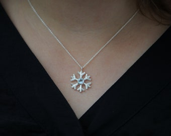 Aquamarine Snowflake Necklace - Snowflake Pendant - Aquamarine Necklace Silver Snowflake Pendant - Christmas gift For Her - Free Shipping