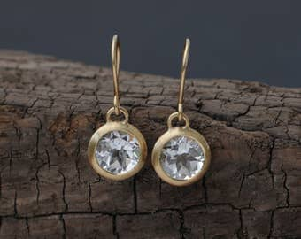 18k Gold White Topaz Drop Earrings - White Topaz Gold Earrings - White Gem Round Gold Earrings  Bridal Wear Gold Drop Earrings FREE SHIPPING