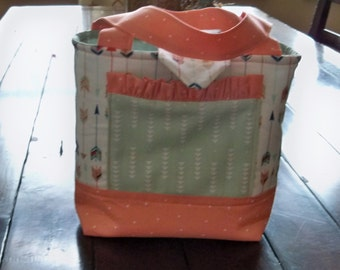 Girls Scripture Bag or Tote  Peach and Mint Green Arrows