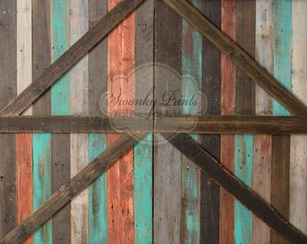 NEW ITEM 3ft x 3ft VINYL Photography Backdrop / Tropical Barn Doors