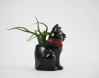 Vintage Redware Pottery Cat Planter - Black Cat with Red Bow Tie Green Eyes Figurine Made in Japan