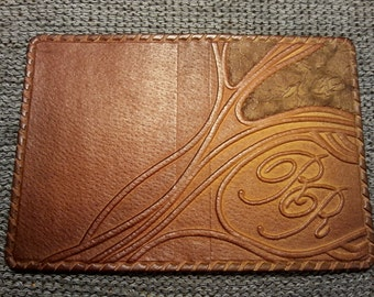 PASSPORT COVER HOLDER -  Personalized Leather Travel Gift Art Craft Handmade #12