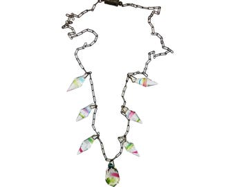 Art Deco Rainbow Iris Crystal Necklace - Vintage Czech Prism Beads, Paper Clip Chain Link, Barrel Clasp Bib Necklace, 20s 30s Bridal Jewlery
