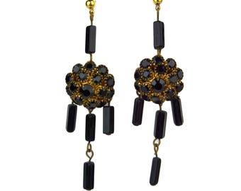 Vintage Black Rhinestone Dangle & Drop Pierced Earrings // Prong Set Cluster, Rectangular Glass Beads // Long Chandelier // Mourning Jewelry