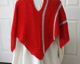 Lacy crochet red poncho with grey stripes