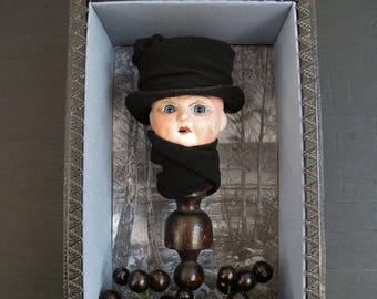 Antique doll head, WINTER, Curiosity Box, Shadow Box, Assemblage