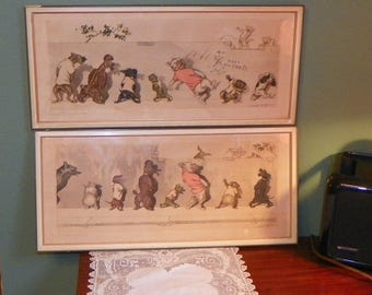 Vintage Lithographs Boris O'Klein Listed French Artist Dirty Dogs of Paris hand signed titled Sus Aux Curieux and Eternels Ennemies framed