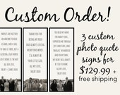 3 Custom Order PHOTO QUOTE SIGNS - Rustic Gifts - Parent Wedding Gifts