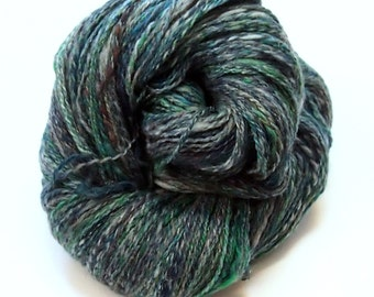 Lace/Light Fingering weight Handspun yarn - Wool and Firestar - 430 yards of handspun 2-ply yarn - 3.75 ounce skein - Emerald City