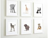 Animal Art prints, Baby zoo nursery modern minimalist nursery decor, - set of six unframed prints - zoo animal, jungle animal childrens art