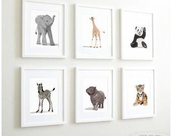 Animal Art prints, Baby zoo nursery modern minimalist nursery decor, - set of six unframed prints - zoo animal, jungle animal childrens art