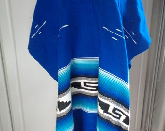 Vintage Well Woven Black, Blue and White Poncho in Vintage Condition which can be reused for many things or left as is, Machine Washable