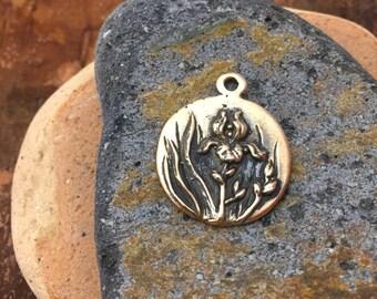 Smaller Bronze  Iris Love Token Pendant Charm