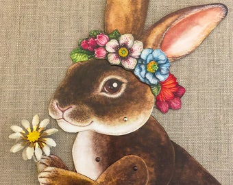 Bunny Rabbit with Flowers Jointed Paper Dolls Kit