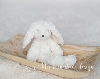 Vintage look floppy Bunny Lovie, Spring photo prop, Sitter & toddler session prop, white bunny photo prop