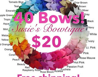 40 3-inch hairbow bundle