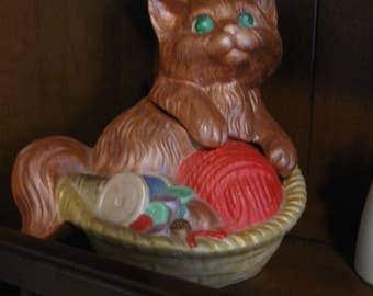 Vintage Ceramic Kitten Basket With Top