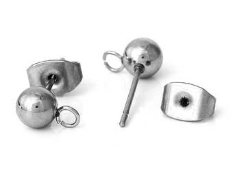 10 Earring Ball with Loops and Stoppers - Antique Silver - 17x8mm - Stainless Steel Material - Ships IMMEDIATELY  from California - EF111
