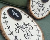 Baby monthly milestone wood slice, Rustic chalkboard, Photo prop, newborn, door hanger, watch me grow, , rustic, wooden, growth chart,