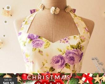 Christmas SALE Purple Floral Tea Dress Purple Floral Vintage Inspired Floral Tea Dress Beach Wedding Party Dress floral Bridesmaid Dress ...
