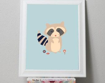 Printable Nursery Art Forest Raccoon Print