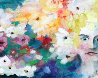 "Abstract Floral Painting, Summer Colors, Original Expressive Artwork, ""Crown of Glory"" 12x24"""