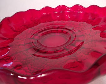 Rare Ruby Paneled Grape 13 Inch Lily Bowl