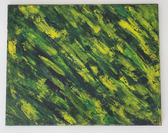 Green & Yellow Abstract Palette Knife Painting