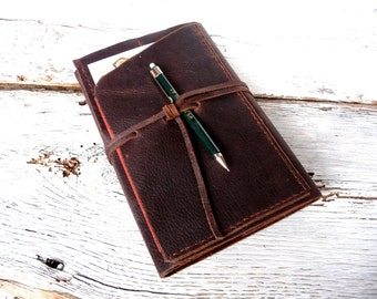 Refillable Journal. Moleskine leather cover. A5 refillable journal. Travel journal. Refillable leather organizer