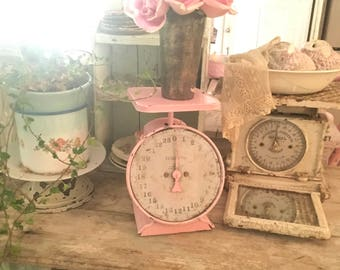 Reserved Pink vintage scale farmhouse shabby chic prairie cottage