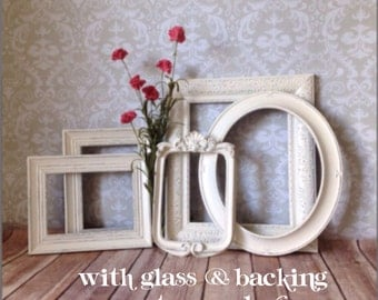 Shabby chic decor - White PICTURE FRAMES - vintage style - shabby chic Wedding - with Glass & Backing
