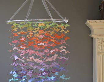 Butterfly mobile, chandelier (largest size) in pastel rainbow colors, from card stock --- Butterfly babyshower or baby gift