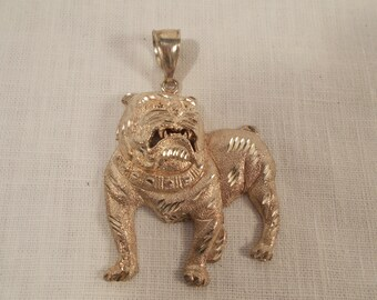Sterling Silver Bull Dog Necklace Pendant