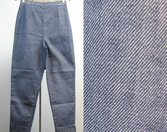 Vintage 1950s Pants 50s Blue Stretch Denim Tapered Leg Pinup Pants with Back Zip Size M