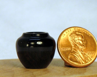 African Blackwood Turned Wood Miniature Pot