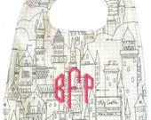 Gender Neutral Baby Bib Castle Print, black and white bib, embroidered