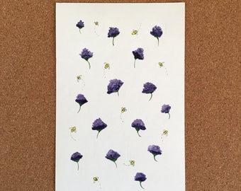 Thistles & Bees Original Watercolor Art