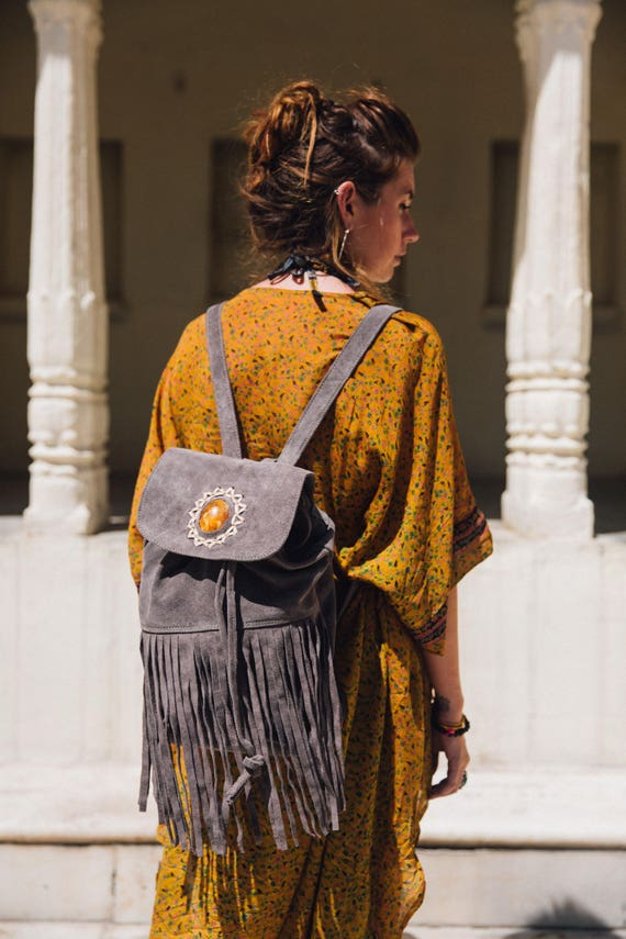 RUBY SPARROW RUCKSACK -Vintage Backpack- Aztec Bag- Tassel bag- Fringe Rucksack- Fringe Bag- Festival Rucksack- Boho- Leather Bag- Crystal