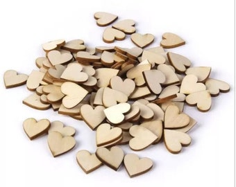 100 wooden hearts perfect for wedding decoration or valentines day