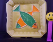 Vintage Mid Century Ceramic Porcelain Ashtray Colorful Fish Motif - Japan Made - Square -Yellow Green Orange Retro Tobacciana - 1950s Decor
