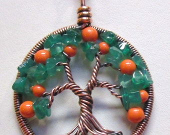 Tree of Life,  Little Peach Tree Pendant with Green Onyx & Swarovski Coral Pearls, Peach Tree of Life