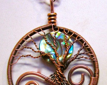 Tree of Life, Paua Shell and Antiqued Copper Whimsical Tree of Life Pendant, Paua Shell Necklace, Paua Jewelry