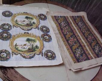 Antique Victorian Italian Wallpaper. Five Sheets