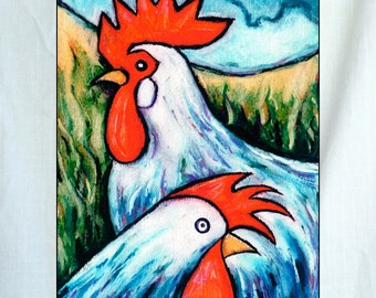 Roosters Small Canvas Wall Art 6x8x1.5 in.