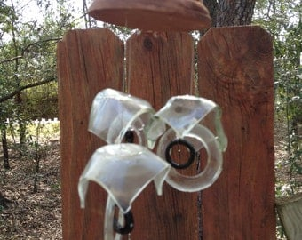 clear, brown, Glass MOBILE from RECYCLED bottles,   wind chime, garden decor, wind chimes, musical, home decor, mobile