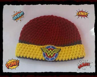 Wonder Woman Hat Adult Size Custom Made For You  Handmade Crochet